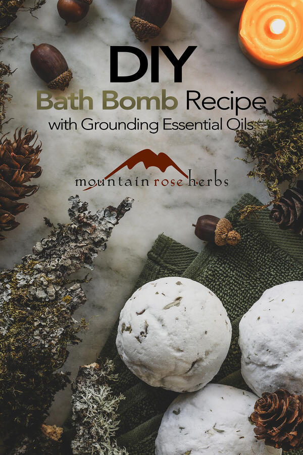 Pinterest Image for DIY Bath Bomb Recipe with Grounding Essential Oils