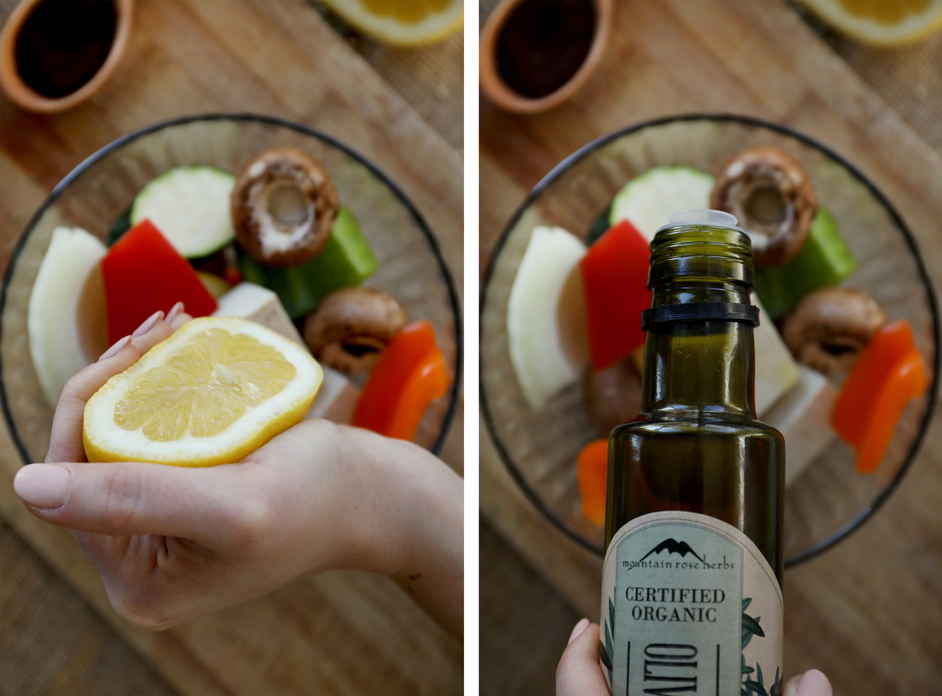 Squeezing fresh lemon juice and using olive oil to dress colorful vegetables to be barbecued.