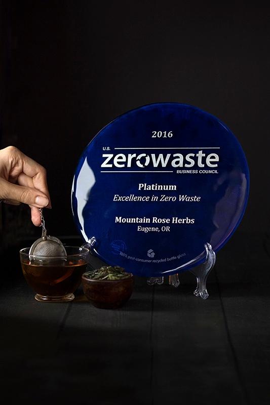hand steeping organic tea next to zero waste platinum award