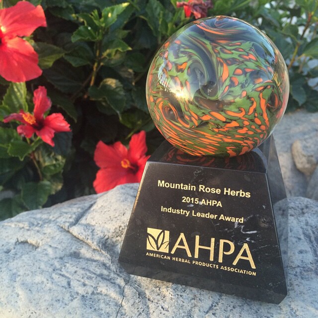 Colorful photo of glass blown trophy for 2015 Industry Leader Award.