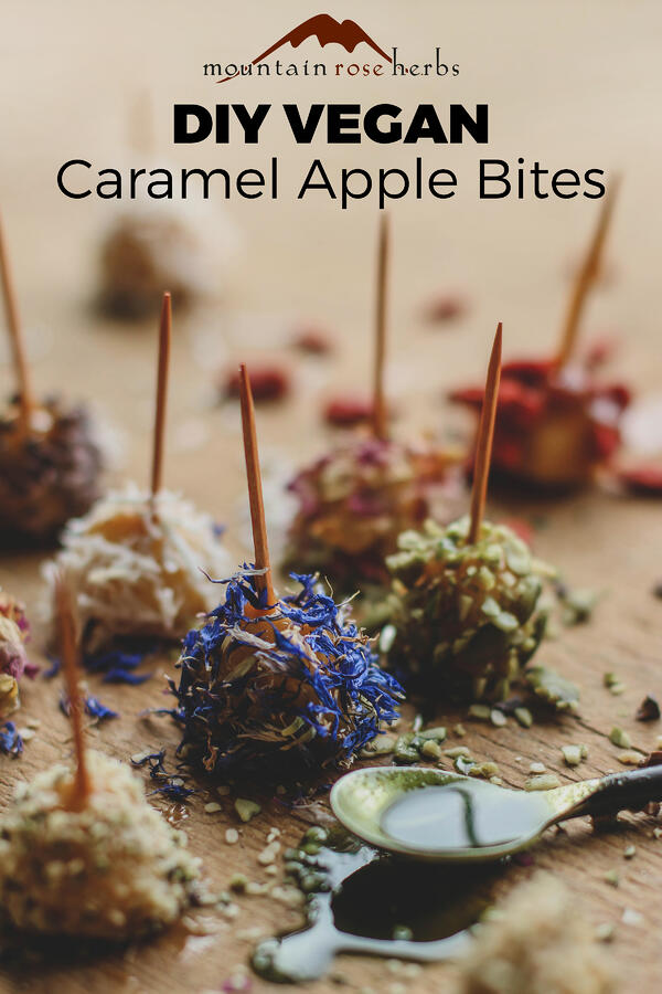 Pinterest image for DIY Vegan Caramel Apple Bites