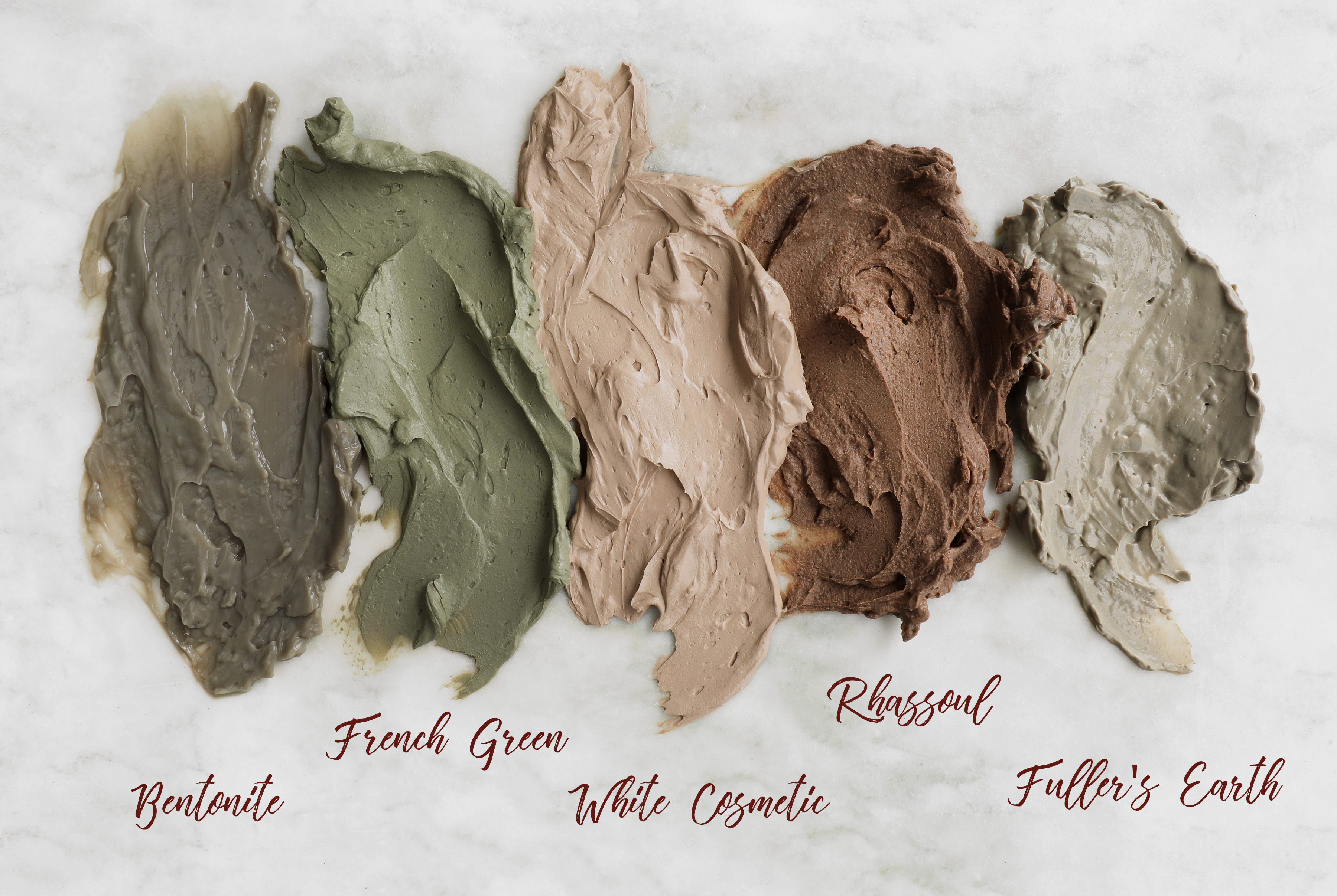 claymasks Swatches of earth toned cosmetic clay pastes.
