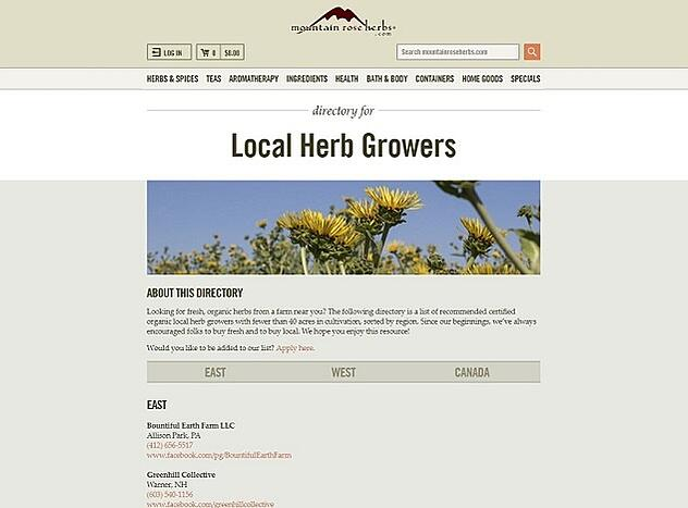 Screenshot of Mountain Rose Herbs Directory of Local Herb Growers