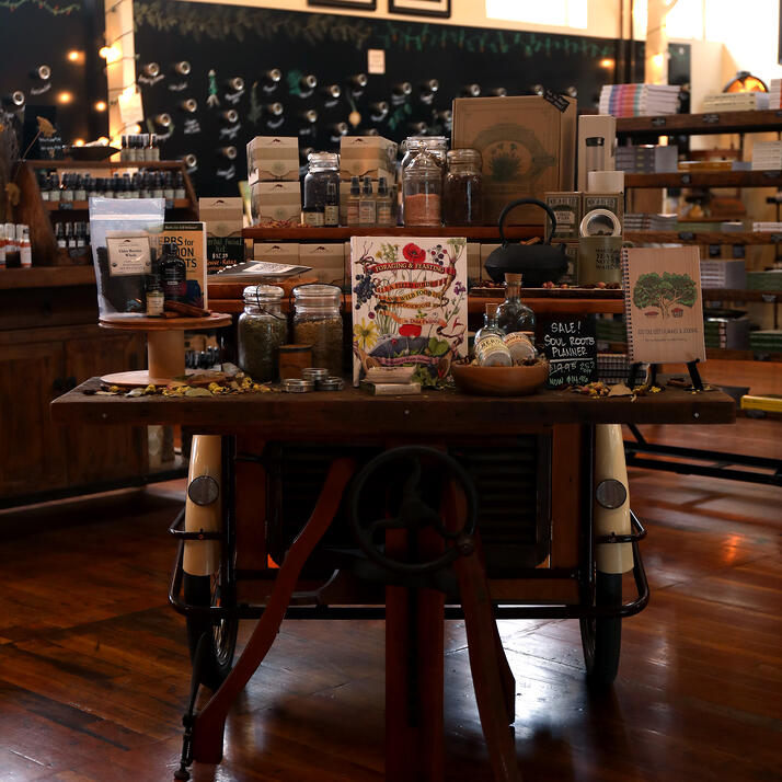 Mountain Rose Herbs Mercantile store display with antiques.