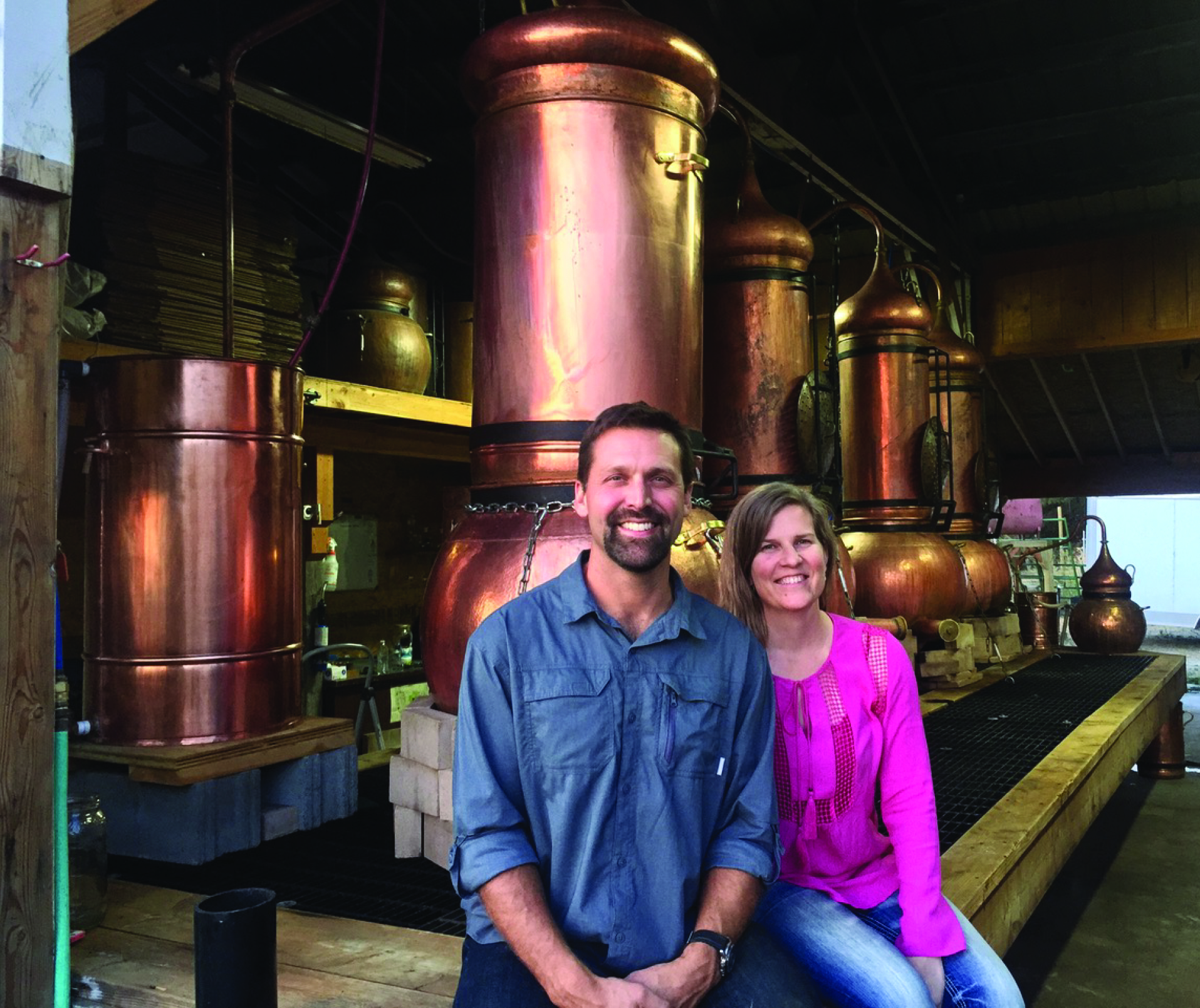 Our organic hydrosol distillers sitting near their copper stills