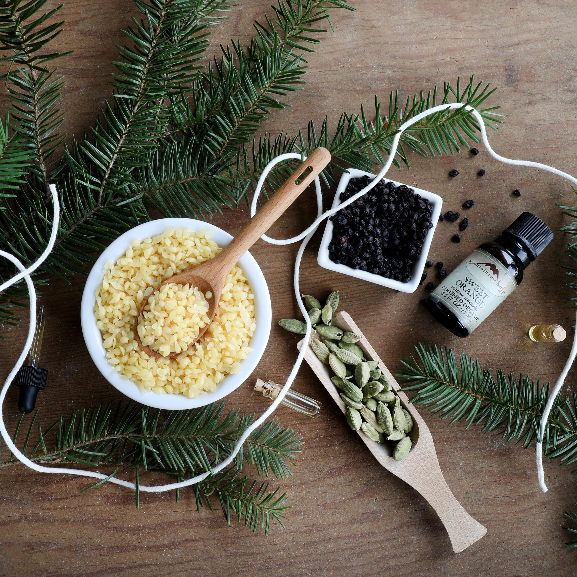 Displayed DIY ingredients with evergreen sprigs