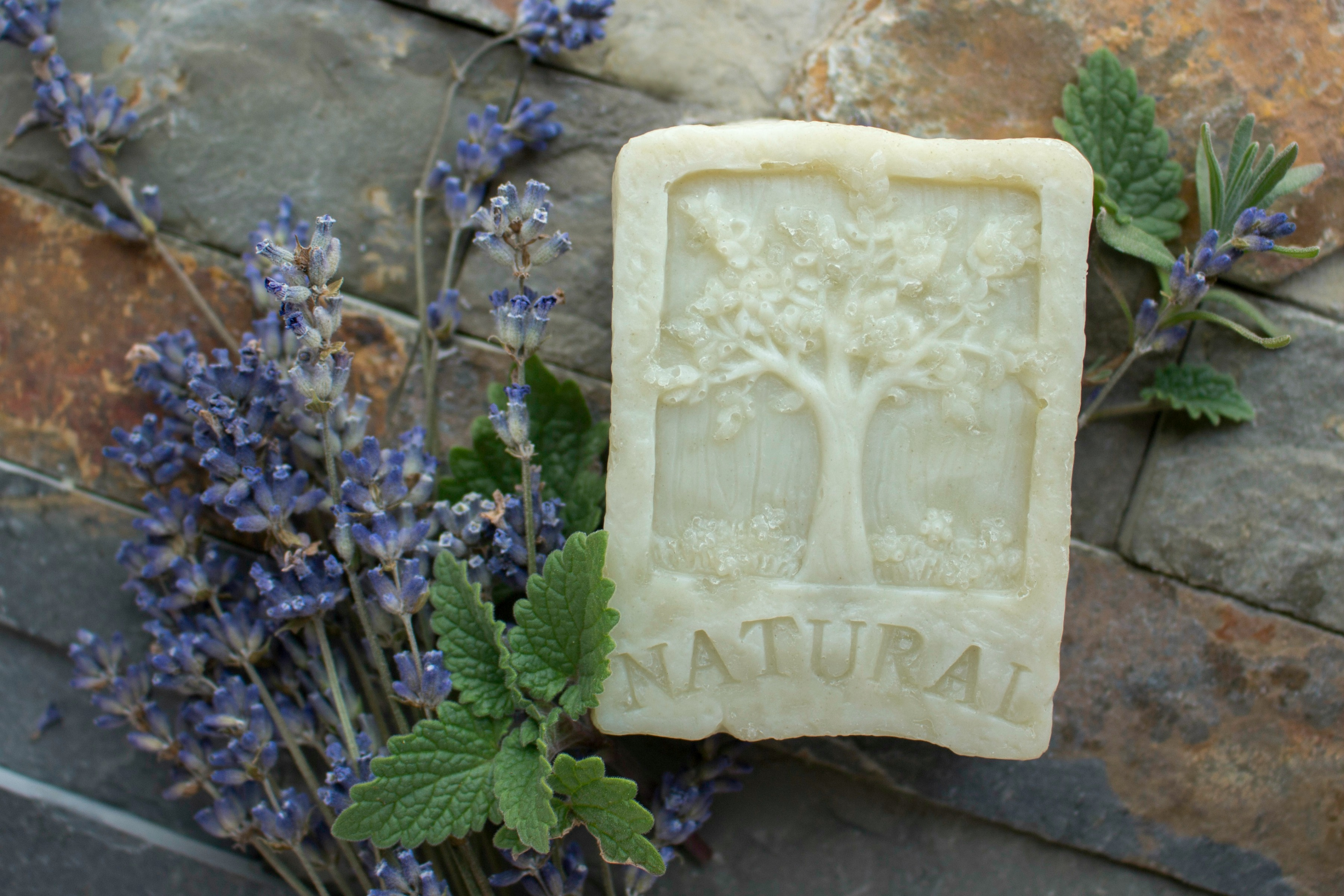 Natural homemade soap made laying with fresh herbs on bricks