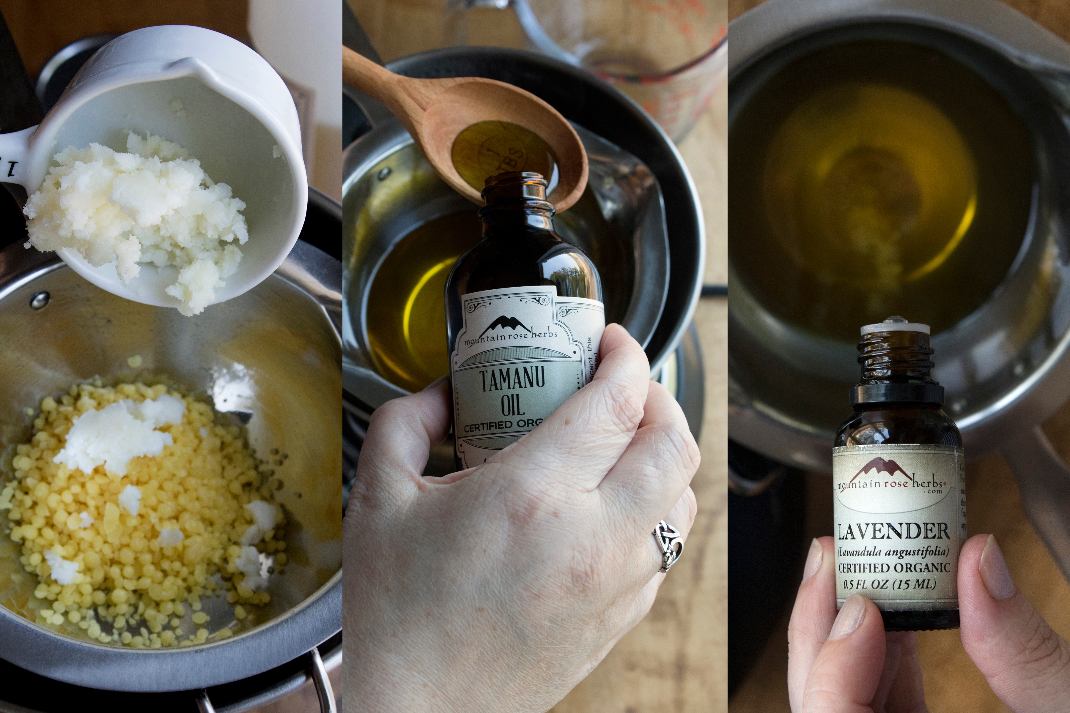 Three-part process showing how to make herbal salve.