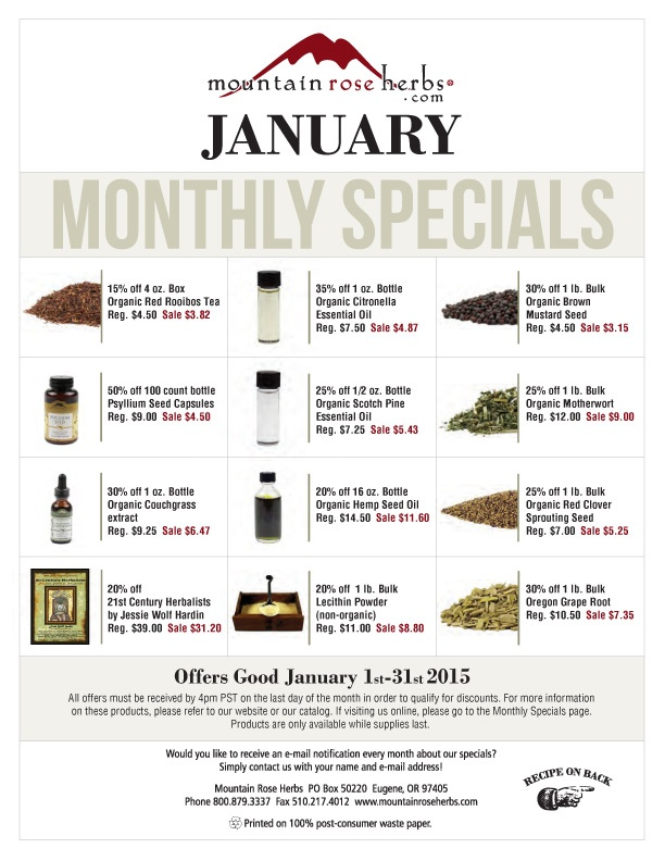 January 2015 Sales Mountain Rose Herbs