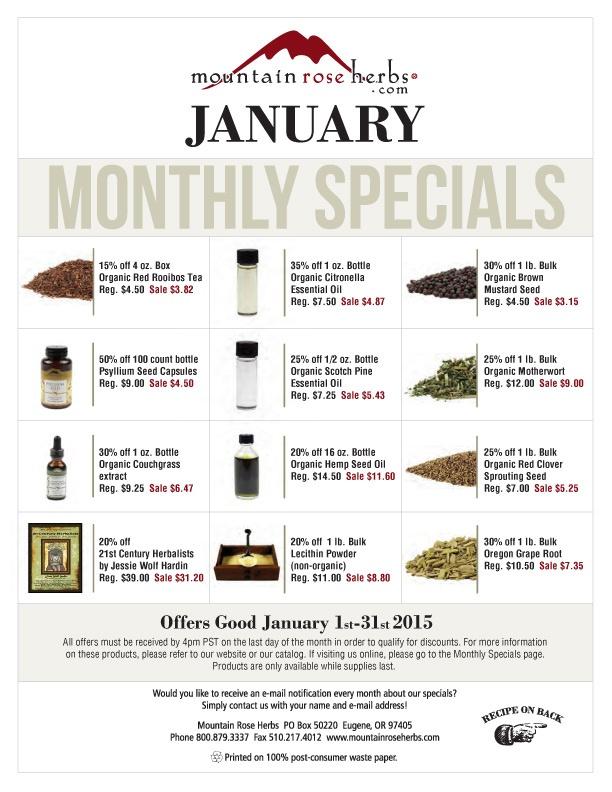 January 2015 Sales Mountain Rose Herbs